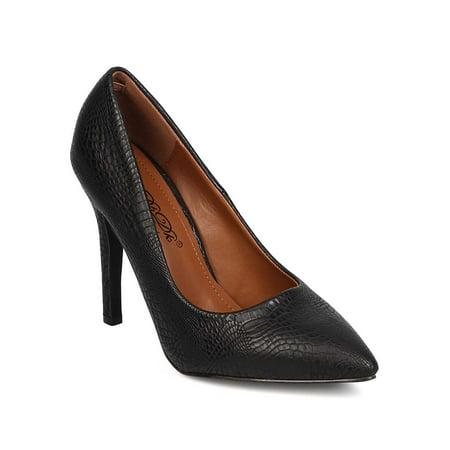 New Women DbDk Chanel-4 Leatherette Snakeskin Point Toe Stiletto -