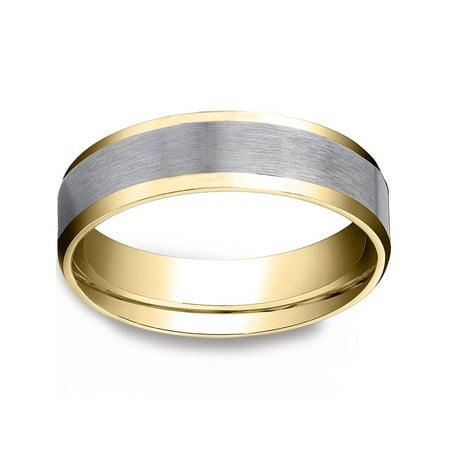 Mens 10k Gold 6MM Satin Wedding Band Flat Beveled Edge Two Tone Ring
