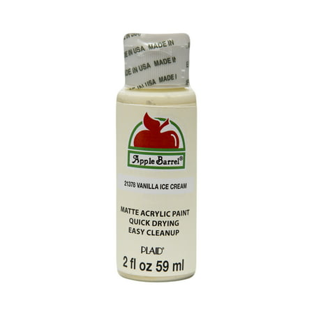 Apple Barrel Matte Finish Acrylic Craft Paint by Plaid, Vanilla Ice Cream, 2 oz.