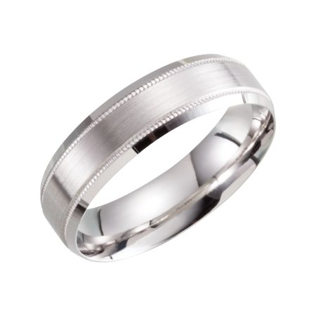 - 10k White Gold Size 10 6mm Polished Light Weight Beveled Band Ring - 5.0 Grams
