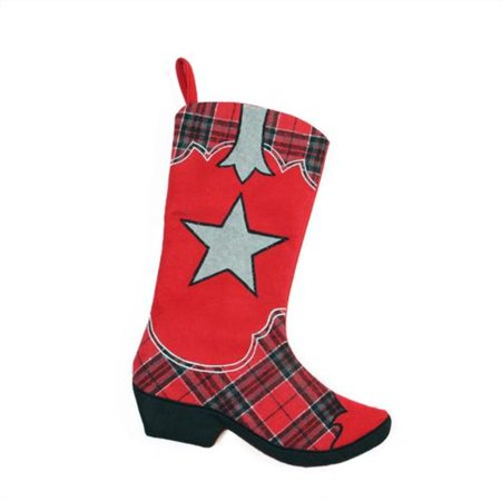 """18.5"""" Wild West Embroidered Star Red and Black Plaid Cowboy Boot Christmas Stocking"""