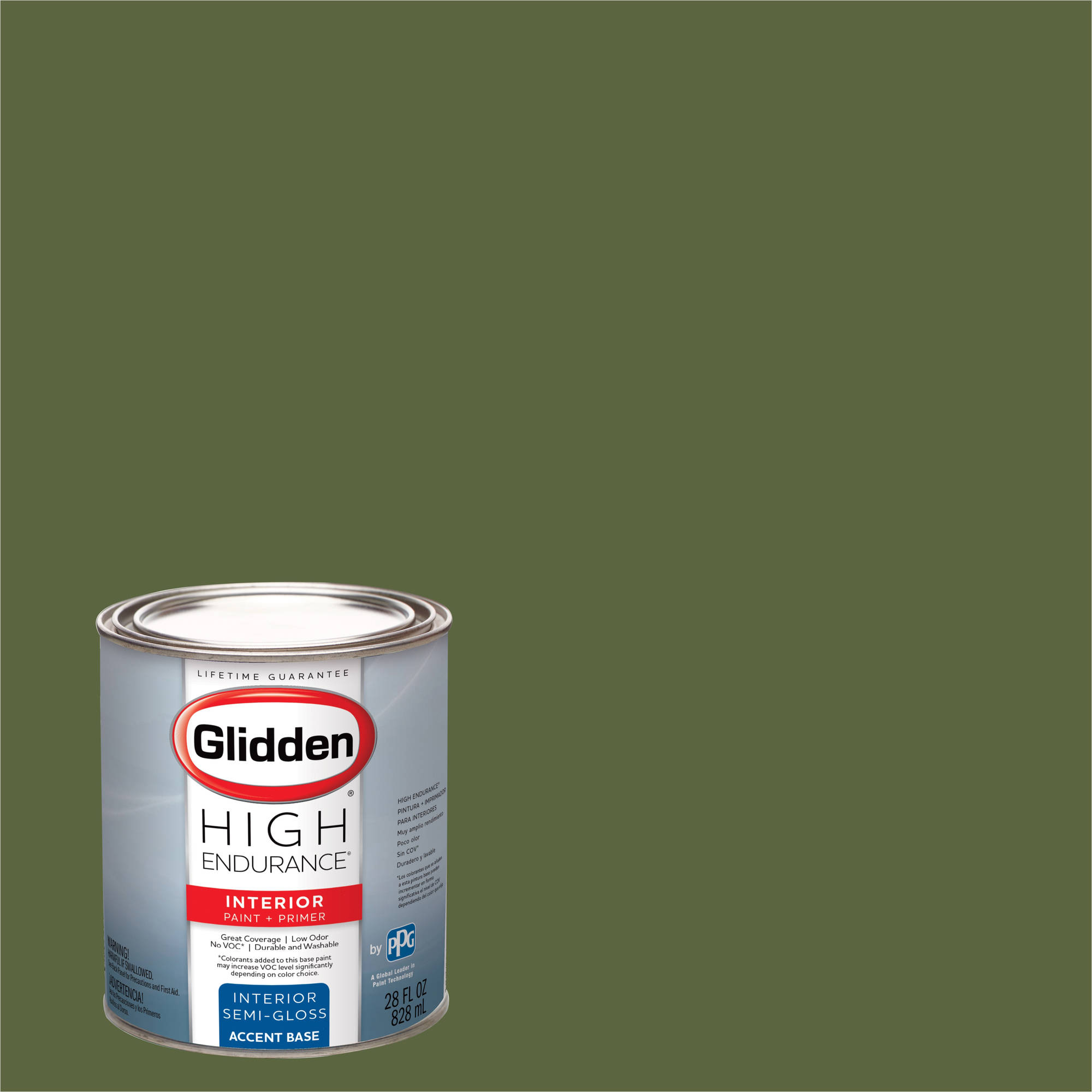 Glidden High Endurance Interior Paint and Primer, Afternoon Martini Olive, #10GY 15 213 by