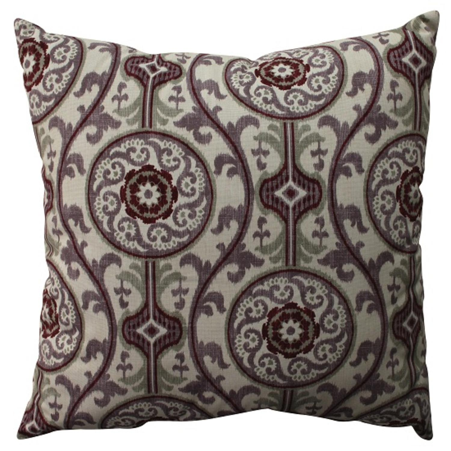 "23"" Purple and White Damask Bohemian Decorative Floor Pillow"