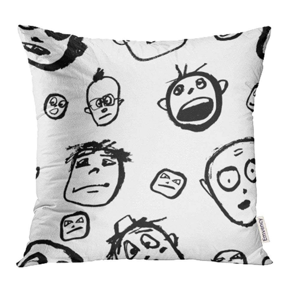 YWOTA Avatar Doodles Faces Black and White Sketchy Cartoon Characters Emotions Boy Child Pillow Cases Cushion Cover 20x20 inch