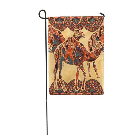 LADDKE Egyptian with Camel Decorated with Oriental Ornaments and Egypt Colorful Floral Garden Flag Decorative Flag House Banner 12x18 (Ornaments House Flag)