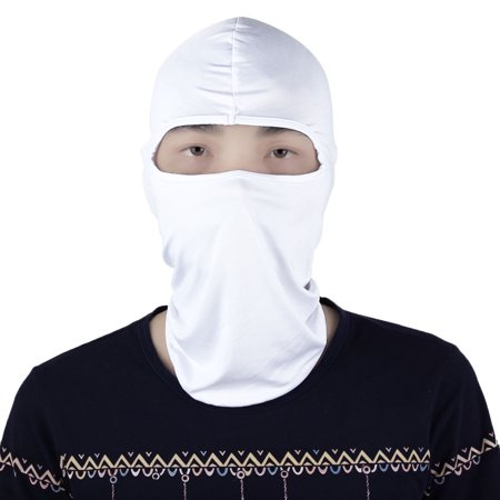 (Ultra-thin Motorcycle Lycra Full Face Mask Neck Protector Cover Balaclava White)