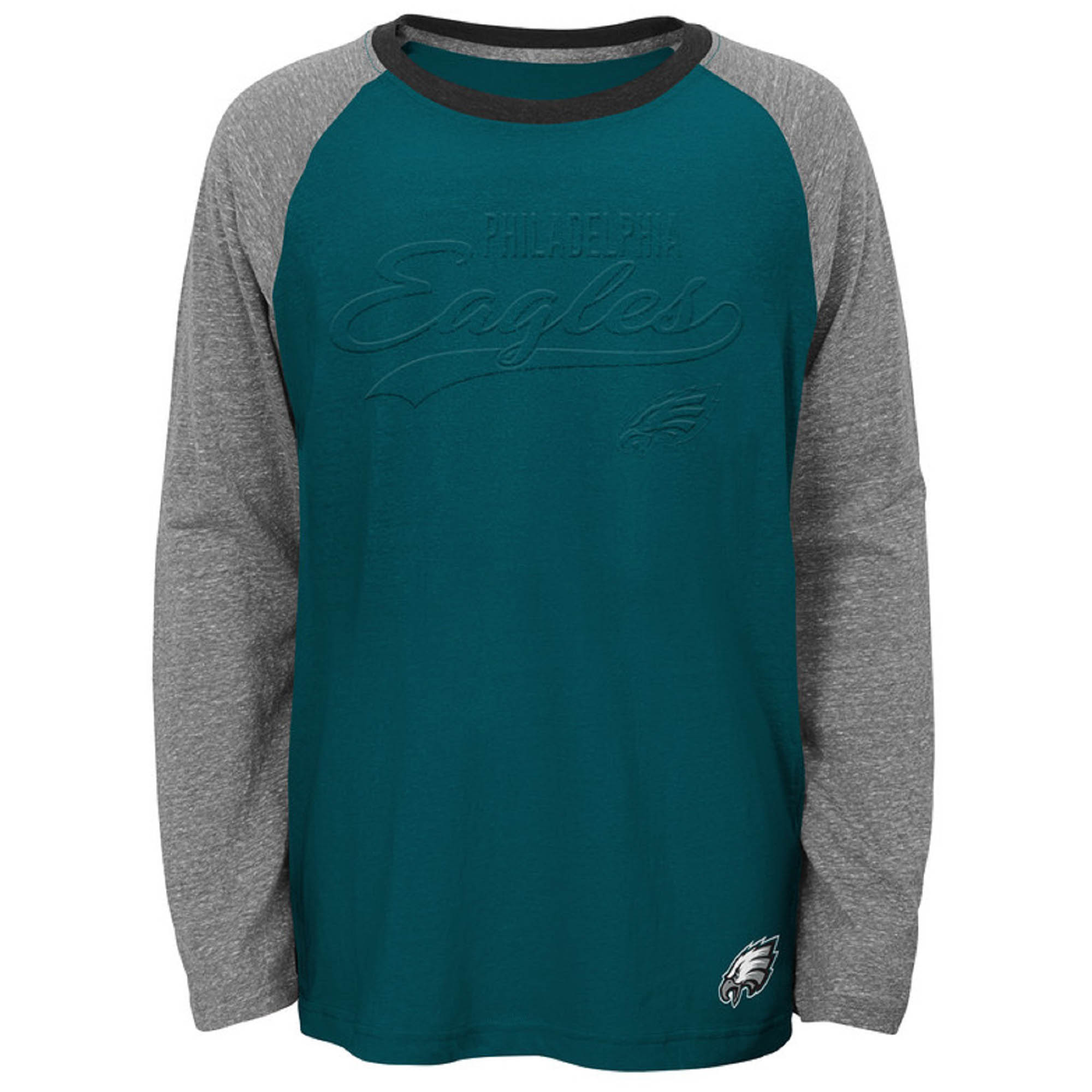 Youth Midnight Green Philadelphia Eagles Long Sleeve Raglan T-Shirt