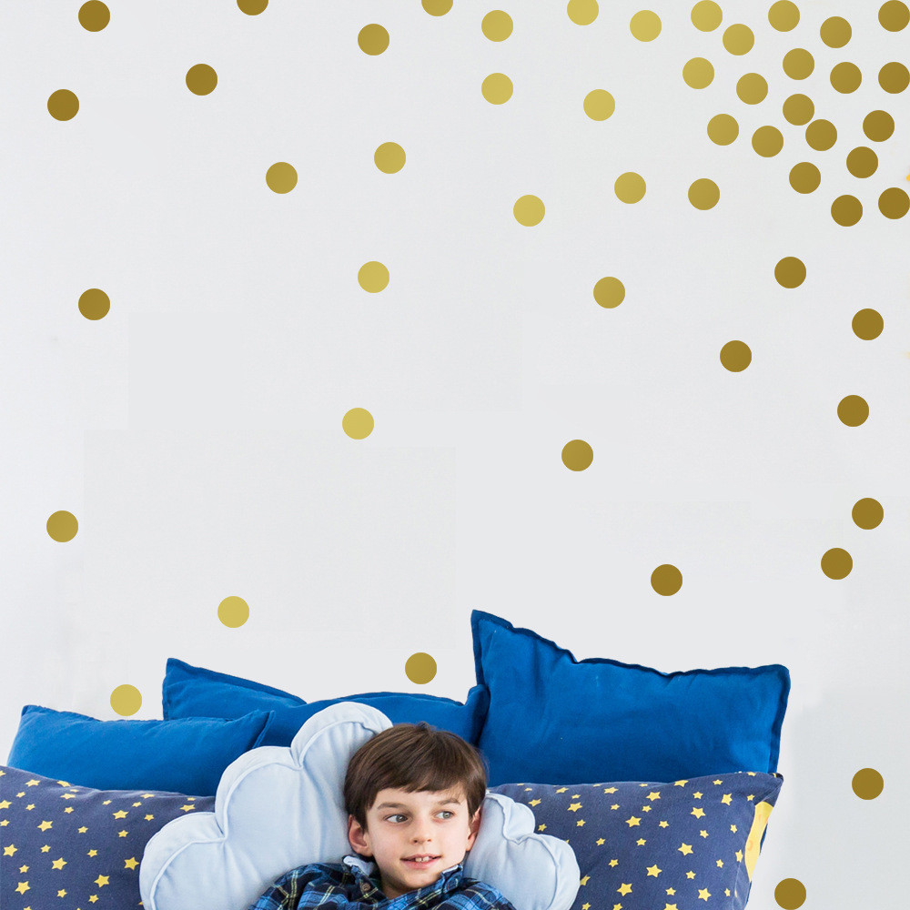 Gold Wall Decal Dots 200 Decals Easy To Peel Easy to Stick + Safe On Painted