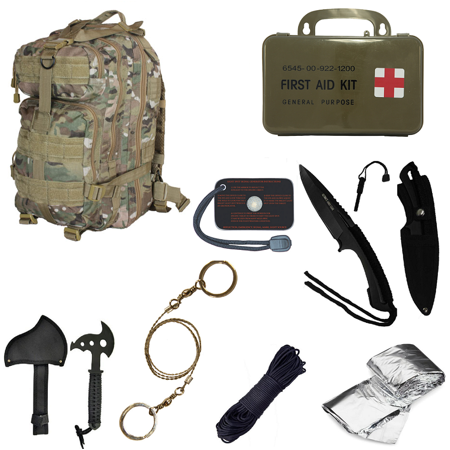 Ultimate Arms Gear Level 3 Assault Molle Taccam Camo Camouflage Backpack Kit  Signal Mirror  Polarshield Blanket  Knife Fire Starter  Wire Saw  Axe  50 Foot Paracord   First Aid Kit
