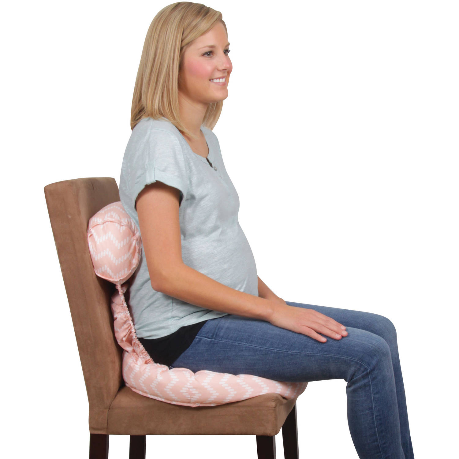 Leachco Tushion Cushion Maternity Soft Seat, Chevron Peach