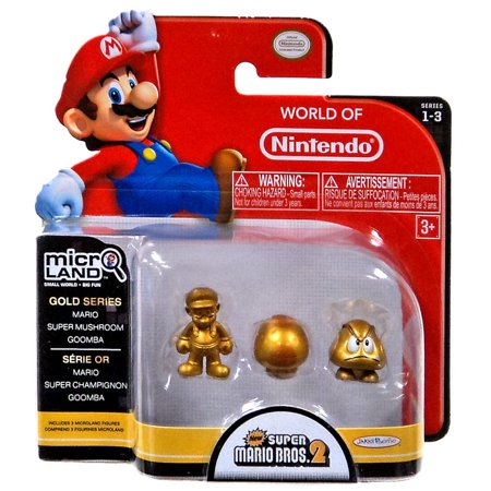 Gold Mario, Super Mushroom & Goomba Mini Figure 3-Pack
