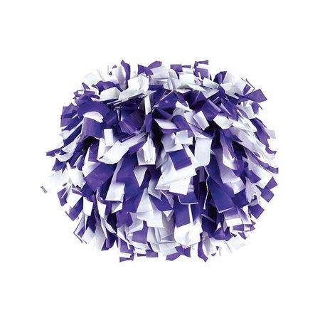 Pizzazz Purple White 2 Color Plastic Cheer Single Pom Pom (Cheer Poms)