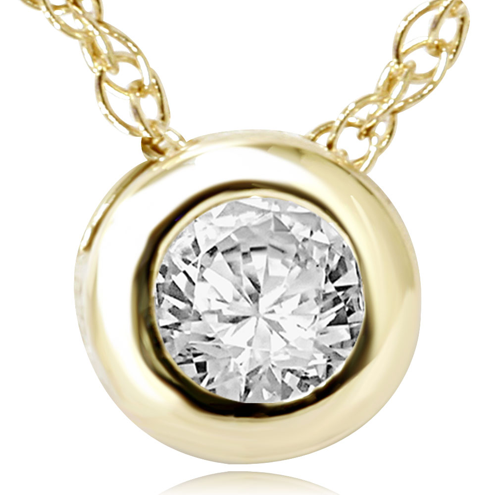 Yellow Gold 1 2ct Bezel Round Solitaire Diamond Pendant Womens Necklace 14kt by Pompeii3