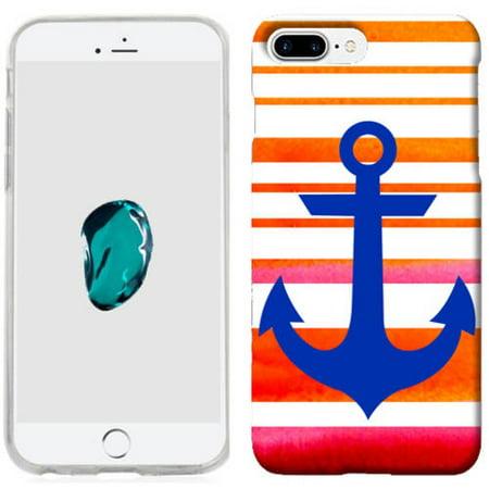 Mundaze Sunset Orange Anchor Stripe Phone Case Cover for Apple iPhone 7 Plus (Iphone Anchor Case)