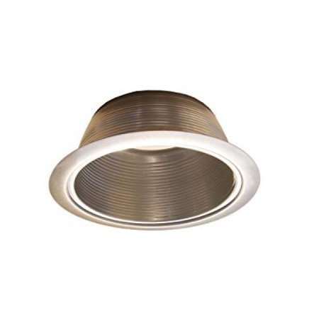 6 Satin Nickel Stepped Baffle Trim for Par30/R30 Line Voltage Recessed Light-Fit Halo/Juno 6 Line Voltage Trim