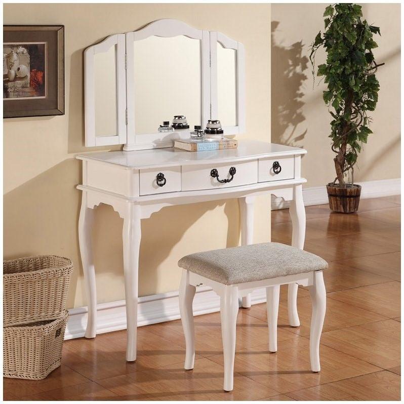 Poundex Bobkona Susana Mirror Vanity Table With Stool Set