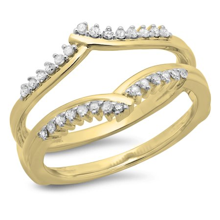 0.25 Carat (ctw) 10K Yellow Gold Round Diamond Ladies Anniversary Wedding Band Enhancer Guard Double Ring 1/4 CT