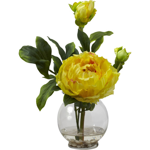 Peony Silk Flower Arrangement with Fluted Vase, Yellow