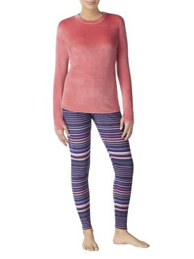 ClimateRight Women's Stretch Luxe Velour 2-Piece Warm Long Underwear Top and Legging Set
