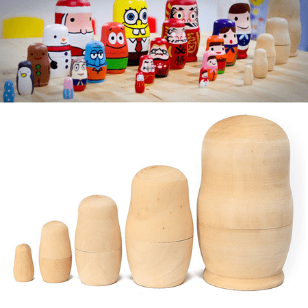 Nesting Sort Stack - 4.25 Inches 5x Unpainted DIY Craft Blank Wooden Embryos Russian Nesting Dolls Matryoshka Stacking Toy Gift