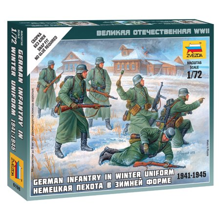 Zvezda #6198 1/72 Scale Unpainted Figure - German Infantry - Winter Uniform