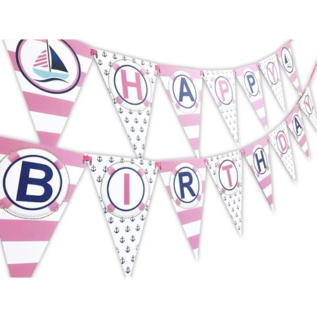 Custom Made Party Banners (Nautical PINK Happy Birthday Banner Pennant - Sailboat Party Banner - Made in the)