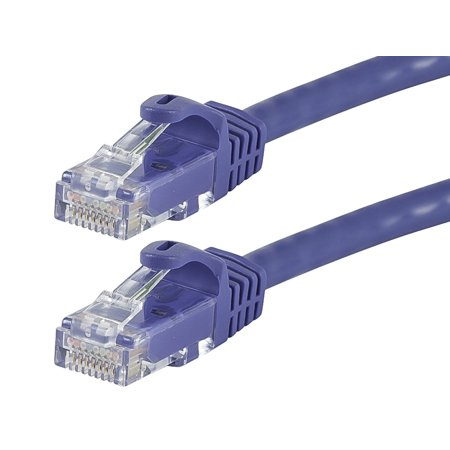 Monoprice Flexboot Cat5e Ethernet Patch Cable - Network Internet Cord - RJ45, Stranded, 350Mhz, UTP, Pure Bare Copper Wire, 24AWG, 75ft, Purple