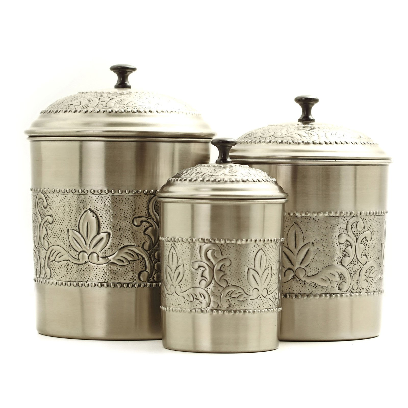 Old Dutch 3 pc. Antique Embossed Victoria Canister Set