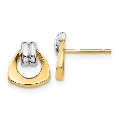 14K Rhodium Plated Yellow Gold With Rhodium Polished Fancy Post Earrings - image 2 of 2