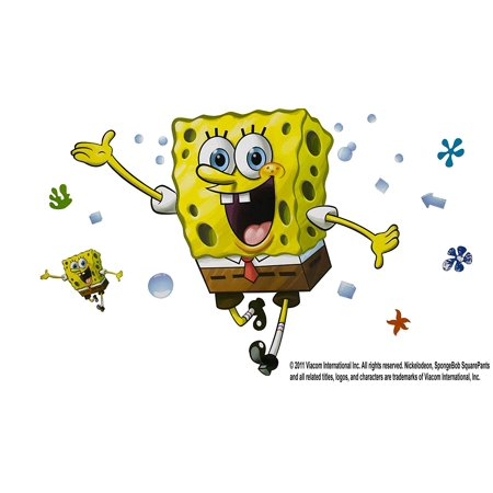 Spongebob Decal Set (American Standard STKR.003 SpongeBob Square Pants Decal Set by Roomates, Removable decal kit By York)