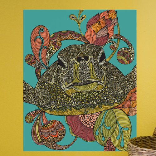 My Wonderful Walls Floral Sea Turtle Wall Decal