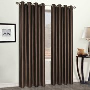"FAUX LEATHER 52"" x 95"" WINDOW CURTAIN PANEL BROWN"
