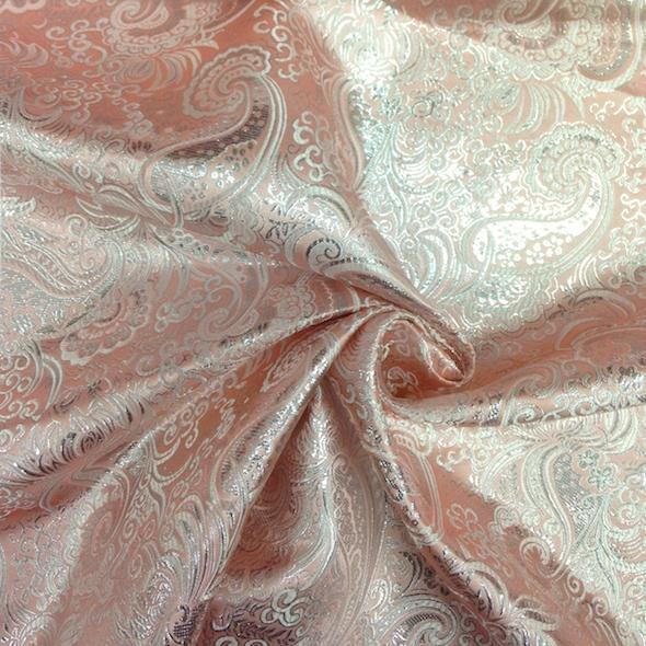 """Metallic Paisley Brocade Fabric 60"""" By Yard in Red Yellow White Purple Blue (Silver / Silver)"""