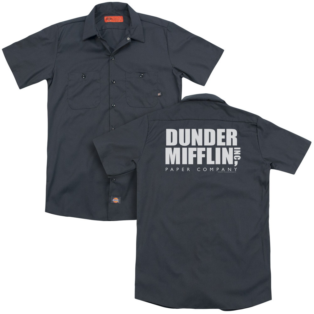 The Office The Office Dunder Mifflin Back Print Mens Work Shirt