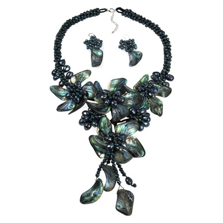 Abalone Shell Jewelry Set (Peacock Abalone Shell & Cultured Freshwater Pearl Floral Jewelry Set )