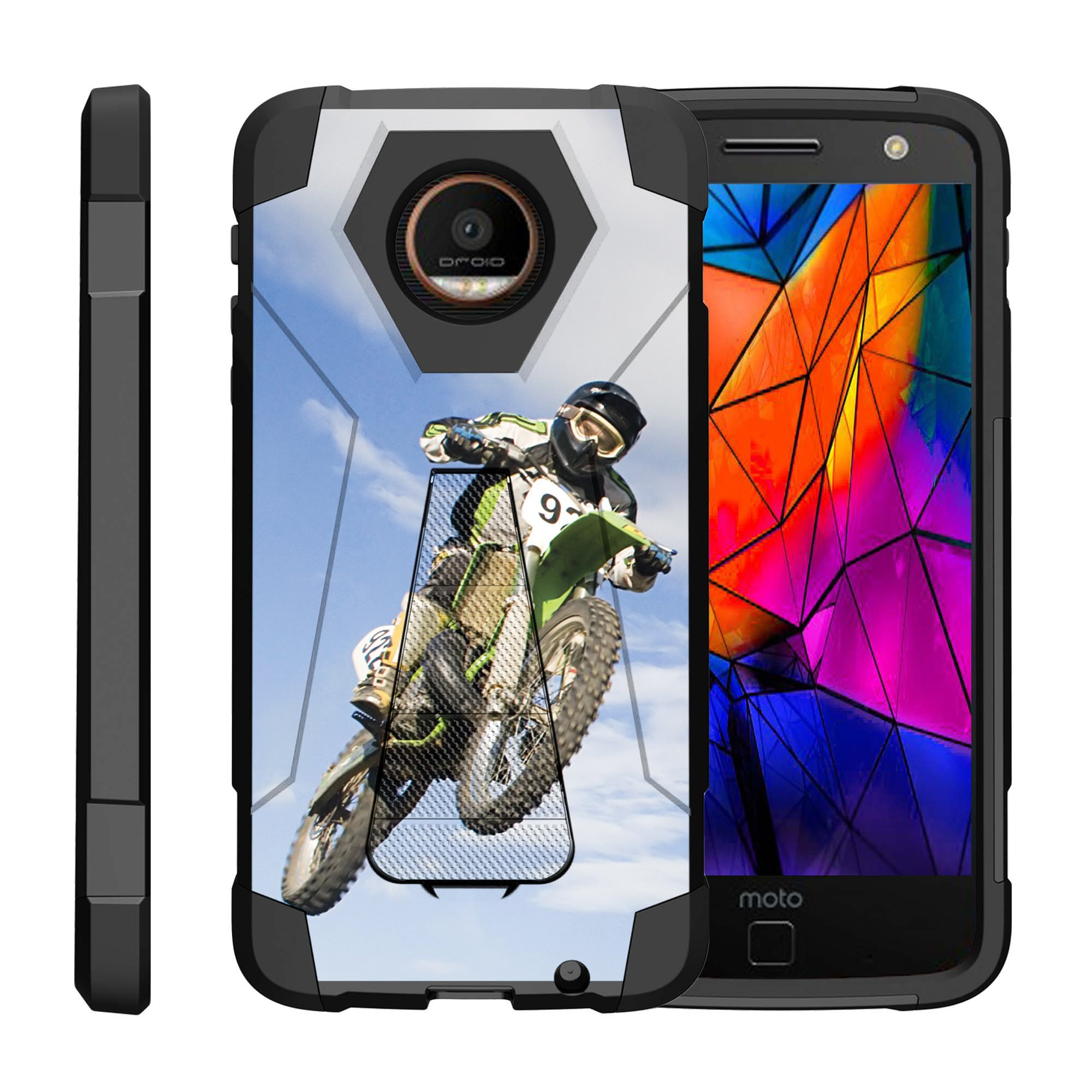 TurtleArmor ® | For Motorola Moto Z Force Droid Edition XT1650-02 [Dynamic Shell] Dual Layer Hybrid Silicone Hard Shell Kickstand Case - Motocross Bike