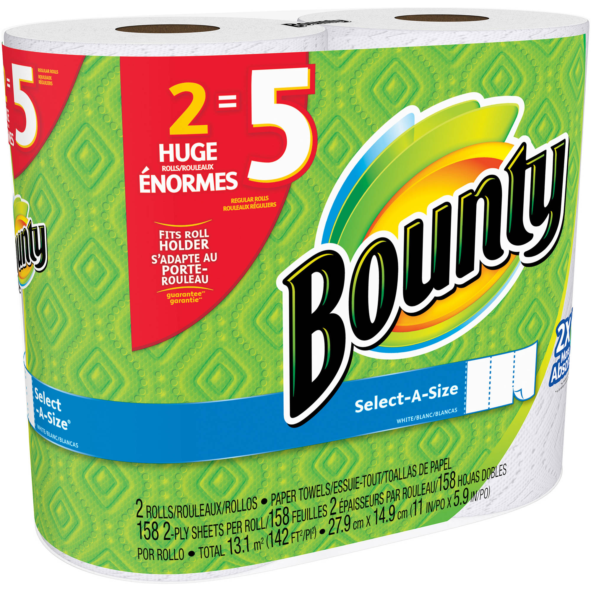 Bounty Select-A Size Paper Towels Huge Rolls, 158 sheets, 2 rolls