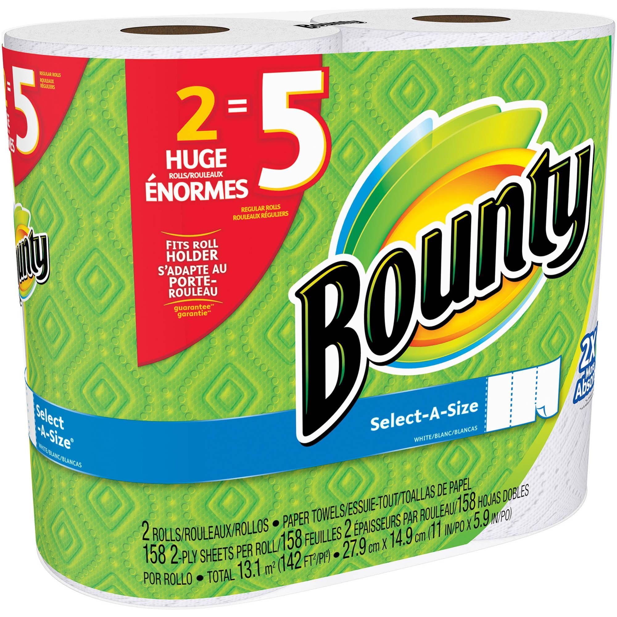 Bounty Select-A Size Paper Towels Huge Rolls, 158 sheets, 2 rolls