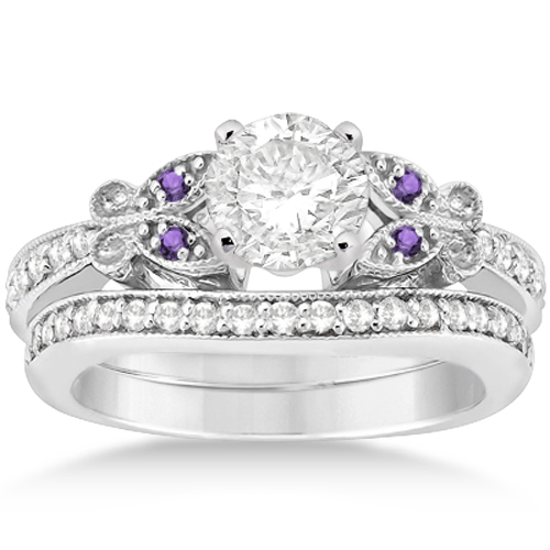 Butterfly Diamond and Amethyst Bridal Set 14k White Gold (0.42ct) by