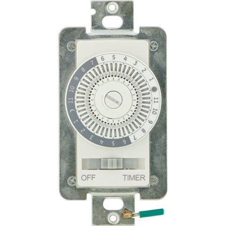 GE Mechanical In-Wall Programmable Timer, 24-Hour, Neutral Wire Required, 07164