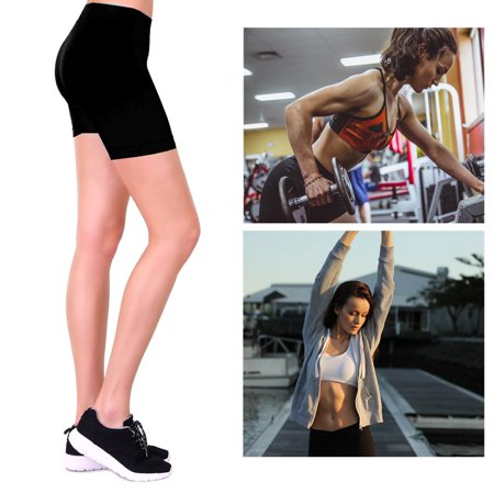 Womens Stretch Casual Shorts Biker Exercise Yoga Workout Seamless One Size Black (Womens Seamless Basic Shorts)