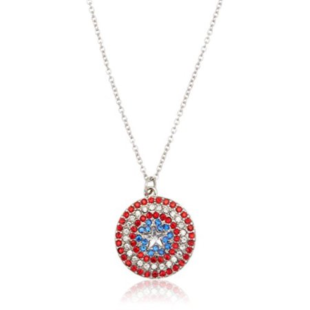 Marvel Captain America Shield Rhinestone Logo Pendant Necklace