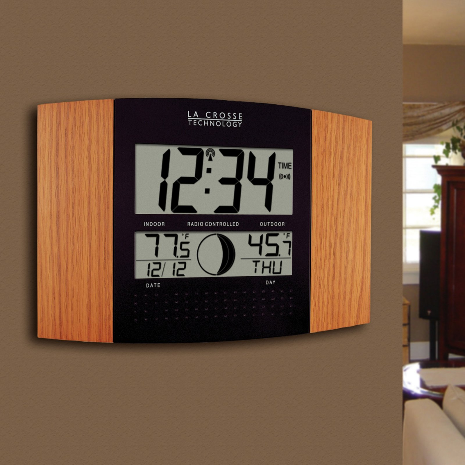 Atomic wall clock with outdoor temperature by la crosse 122 atomic wall clock with outdoor temperature by la crosse 122 inches wide walmart amipublicfo Gallery