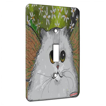 KuzmarK™ Single Gang Toggle Switch Wall Plate - Silver Persian Kitty Fairy with Daisies Fantasy Cat Art by Denise Every