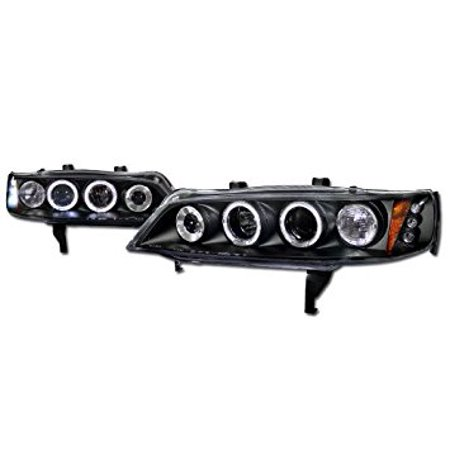 - Topline Autopart Black Drl Led Dual Halo Rims Projector Head Lights Corner 1Pc 94-97 Honda Accord