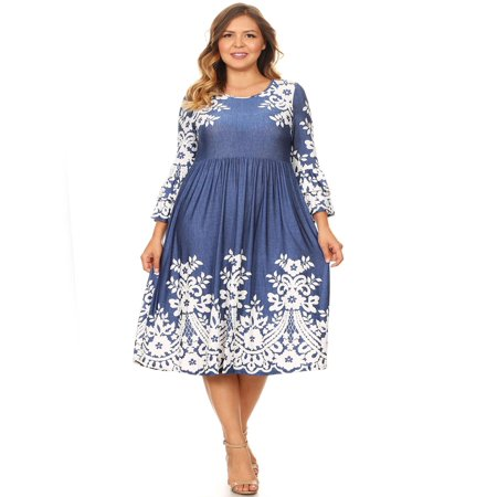 Bell Bottom Dress (MOA COLLECTION Women's Plus Size Pattern Print Flare Tiered Casual 3/4 Bell Sleeve Pleat Midi)