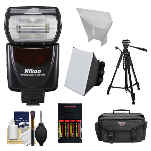 Nikon SB-700 AF Speedlight Flash with Tripod + Softbox + Bounce Reflector + Batteries & Charger + Case + Cleaning Kit