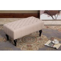 GHP 31.5x16'x15' Taupe Fabric Wood Casual Rectangle Solid Cocktail Tufted Ottoman