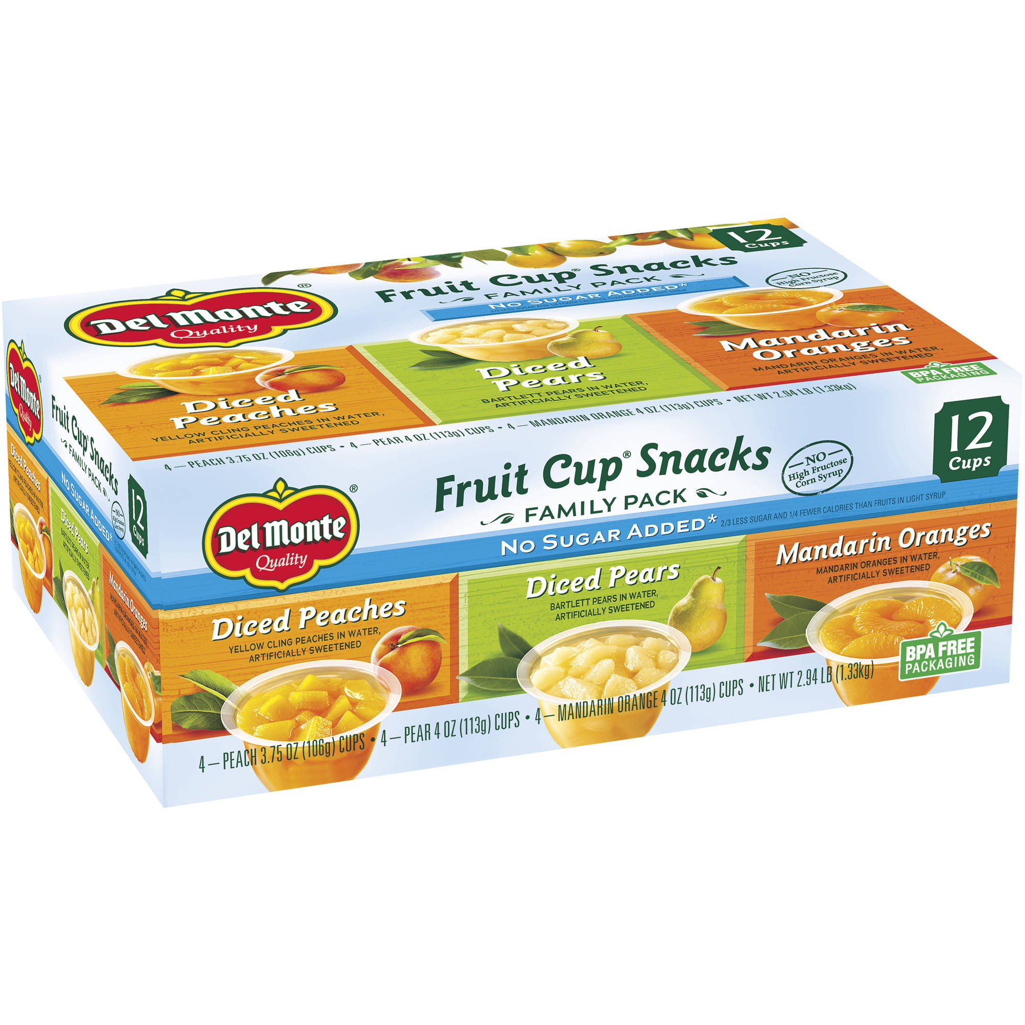 Del Monte No Sugar Added Variety Fruit Cups, 12 ct
