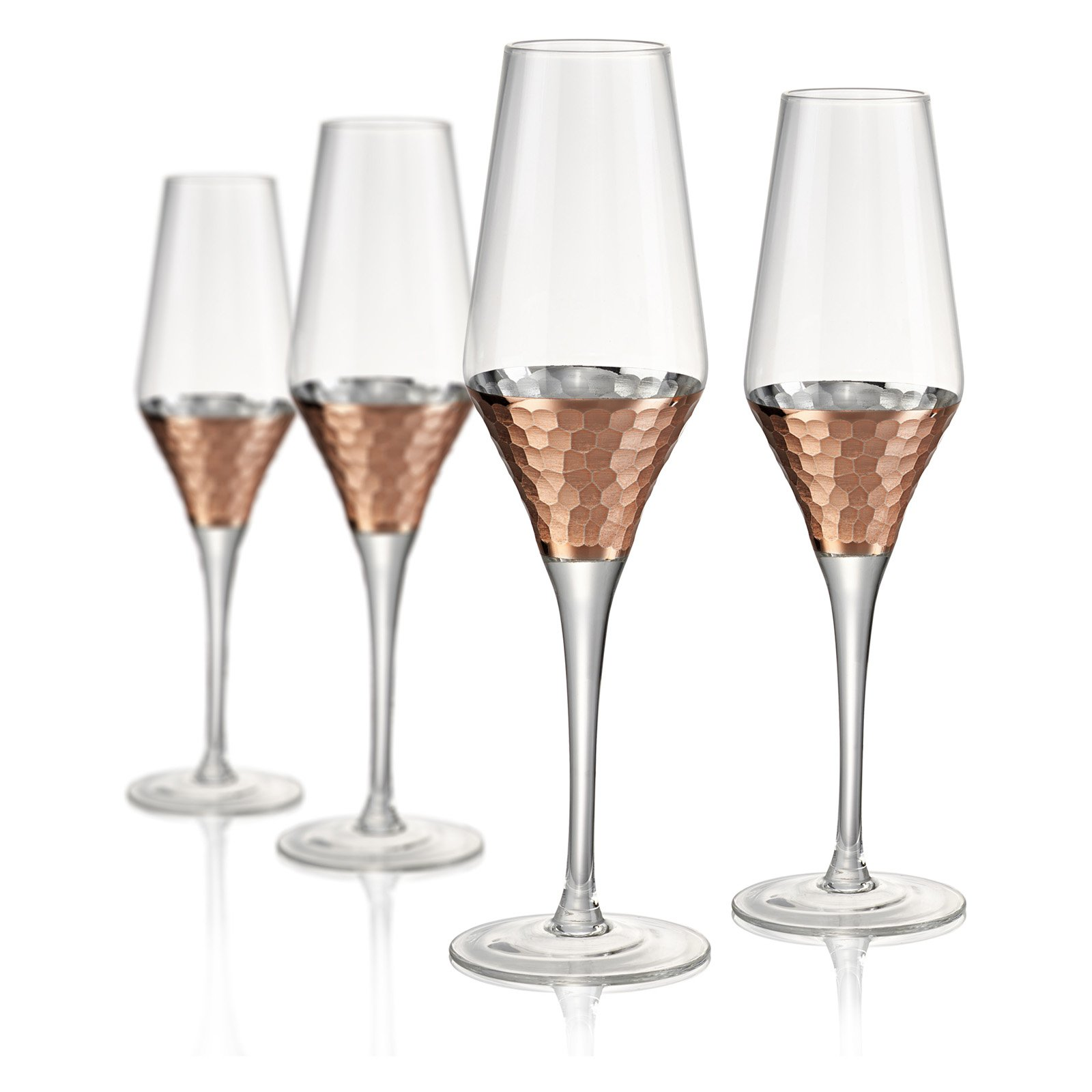 Artland Coppertino Hammer Champagne Flute - Set of 4